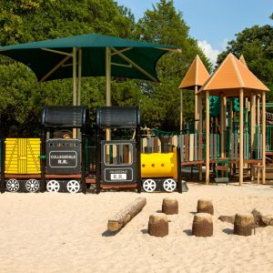 Train-Themed Wooden Replacement Playground in Tennessee gallery thumbnail